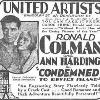 Condemned with Ann Harding, 1929.